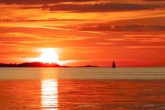 Sonnenuntergang in Finnland Stockfotos