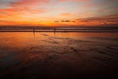 Sonnenuntergang-Fischen lizenzfreie abbildung