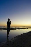 Sonnenuntergang-Fotos nachdem dem Schnorcheln lizenzfreie stockfotos