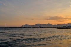 Sonnenuntergang in französischem Riviera Lizenzfreie Stockfotos