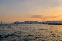 Sonnenuntergang in französischem Riviera Lizenzfreies Stockfoto