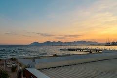Sonnenuntergang in französischem Riviera Lizenzfreie Stockbilder