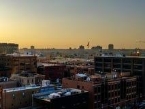 Sonnenuntergang in Fulton Market-Nachbarschaft Chicago-Luftstadtbild lizenzfreies stockbild