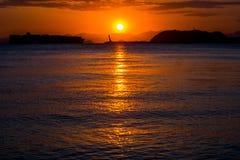 Sonnenuntergang, Gadeok-Insel, Busan, Südkorea Stockfoto