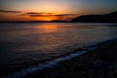 Sonnenuntergang, Gadeok-Insel, Busan, Südkorea Lizenzfreies Stockbild