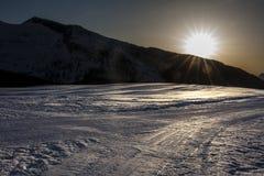 Sonnenuntergang-Gebirgsschnee-Dolomit Stockbilder