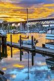 Sonnenuntergang Granville Island Burrard Street Bridge Vancouver Briten Stockbilder