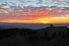 Sonnenuntergang in Greve im Chianti, Toskana, Italien stockfoto