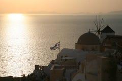 Sonnenuntergang Griechen des Oia-Santorini Stockfotografie