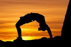 Sonnenuntergang Gymnast stockfotografie