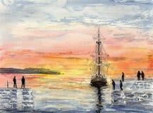 Sonnenuntergang-Hafen stockfoto