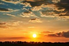 Sonnenuntergang, heller bunter Himmel und Wolken als Hintergrund, Baumschattenbild Stockbild