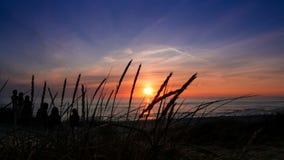 Sonnenuntergang an Henne-Strang 2 Stockbilder