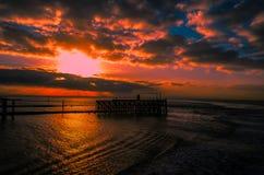 Sonnenuntergang am Heysham-Bootfahrthafen Lizenzfreie Stockfotografie