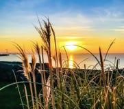Sonnenuntergang; Heysham, Lancashire Großbritannien stockbild
