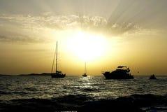 Sonnenuntergang in Ibiza spanien Lizenzfreies Stockfoto