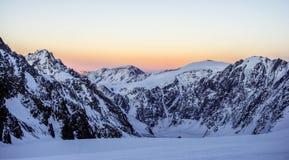 Sonnenuntergang im alplagerey Aktru Lizenzfreie Stockfotos