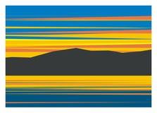 Sonnenuntergang im Berg und im See vektor abbildung