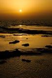 Sonnenuntergang im Betzet Strand Stockbilder