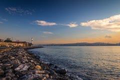 Sonnenuntergang im Bosphorus, Istanbul die Türkei Lizenzfreie Stockbilder