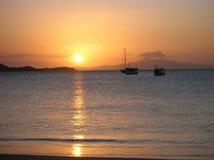 Sonnenuntergang im caribic Ufer von Venezuela stockfotografie