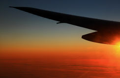 Sonnenuntergang im Flug Lizenzfreies Stockbild