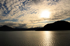 Sonnenuntergang im inneren Durchgang, Alaska, Vereinigte Staaten stockbild
