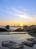 Sonnenuntergang im Kanal Stockfoto
