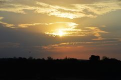 Sonnenuntergang im Kruger-Park Lizenzfreies Stockfoto