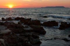 Sonnenuntergang im Mittelmeer Stockfotos