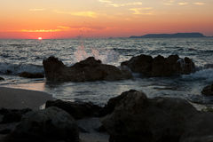 Sonnenuntergang im Mittelmeer Lizenzfreies Stockfoto
