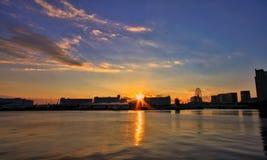 Sonnenuntergang im odaiba Lizenzfreie Stockfotografie