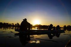 Sonnenuntergang im Okavango-Delta, Botswana stockbild