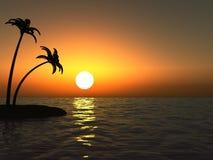 Sonnenuntergang im Ozean und in der einsamen Insel mit Palmen Lizenzfreie Stockbilder