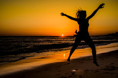 Sonnenuntergang im Strand Stockbilder