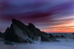 Sonnenuntergang im Strand Lizenzfreies Stockfoto