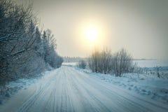 Sonnenuntergang im Winter Lizenzfreie Stockfotografie