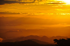 Sonnenuntergang im Wolken-Wald Lizenzfreies Stockbild