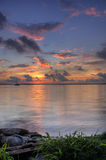 Sonnenuntergang an Jachthafen Fernandina-Strand Amelia Island Florida Stockbild