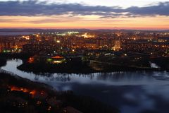 Sonnenuntergang in Jekaterinburg Stockbilder