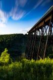 Sonnenuntergang an Kinzua-Brücke - Pennsylvania Lizenzfreies Stockbild