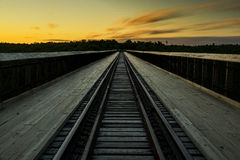 Sonnenuntergang an Kinzua-Brücke - Pennsylvania lizenzfreies stockfoto