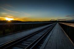 Sonnenuntergang an Kinzua-Brücke - Pennsylvania Stockbilder