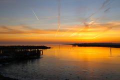 Sonnenuntergang am kleinen Hafen Stockfotografie