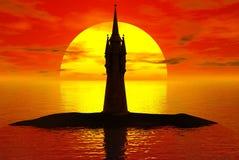 Sonnenuntergang-Kontrollturm Lizenzfreie Stockfotos
