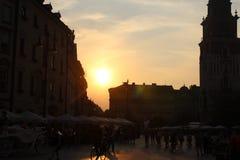 Sonnenuntergang in Krakau-Stadt Lizenzfreie Stockfotos