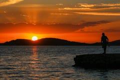 Sonnenuntergang in Kroatien, Adria Stockfotografie