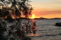 Sonnenuntergang in Kroatien, Adria Stockfoto