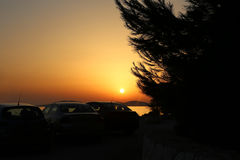 Sonnenuntergang in Kroatien, Adria Lizenzfreies Stockbild