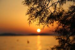 Sonnenuntergang in Kroatien, Adria Stockfotos